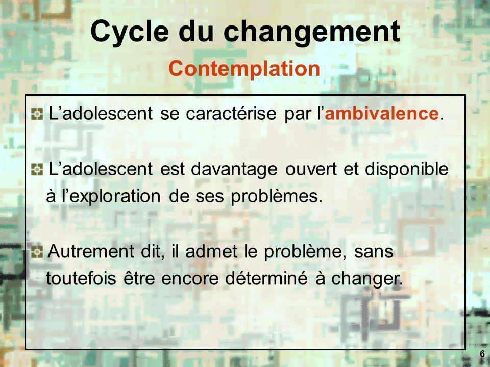 Cycle du changement Contemplation