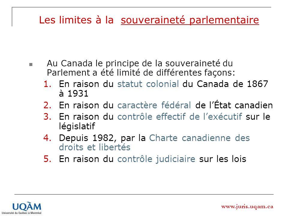 Les limites à la souveraineté parlementaire