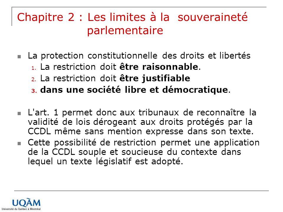 Chapitre 2 : Les limites à la souveraineté parlementaire