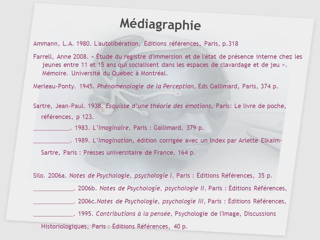 Médiagraphie Ammann, L.A. 1980. L autolibération, Éditions références, Paris, p.318.
