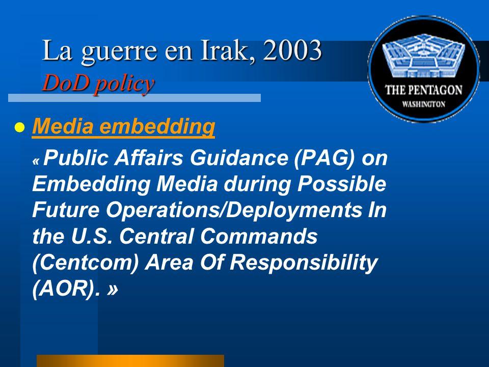 La guerre en Irak, 2003 DoD policy