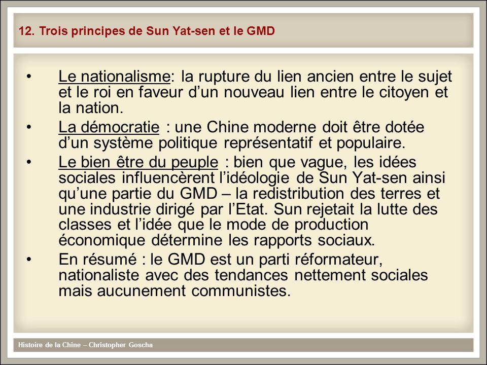 12. Trois principes de Sun Yat-sen et le GMD