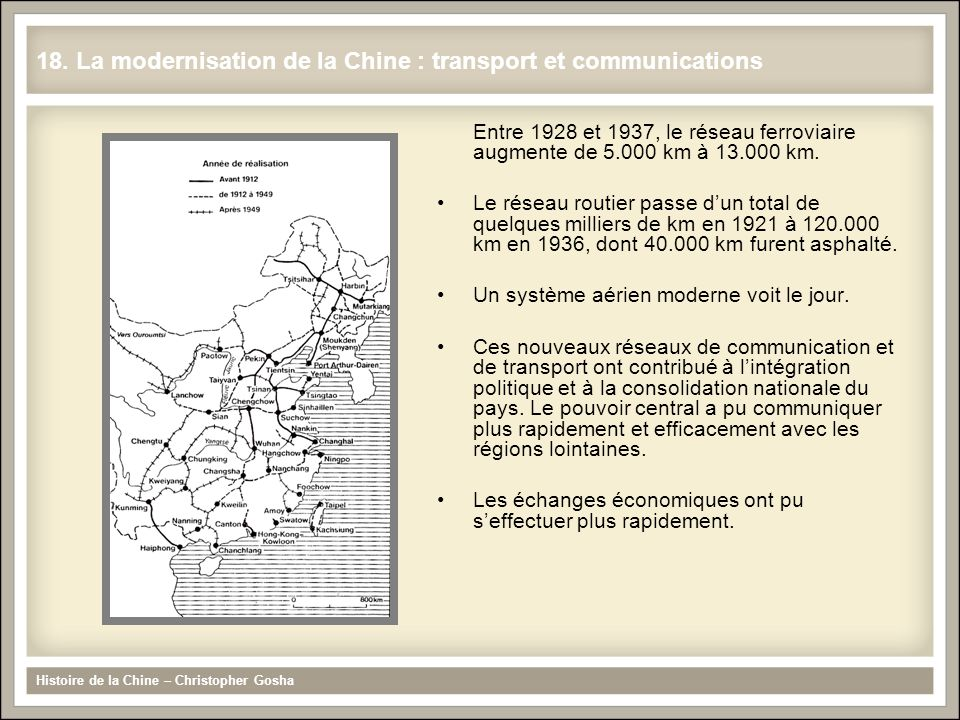 18. La modernisation de la Chine : transport et communications
