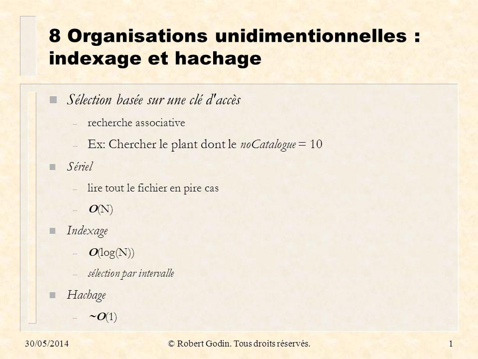8 Organisations unidimentionnelles : indexage et hachage