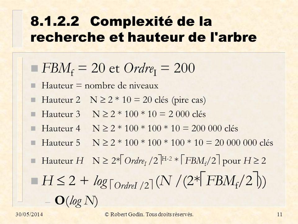 8.1.2.2 Complexité de la recherche et hauteur de l arbre