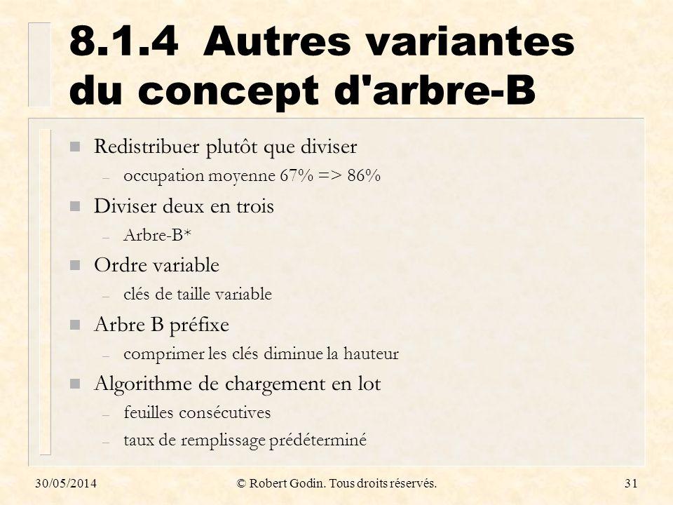8.1.4 Autres variantes du concept d arbre-B