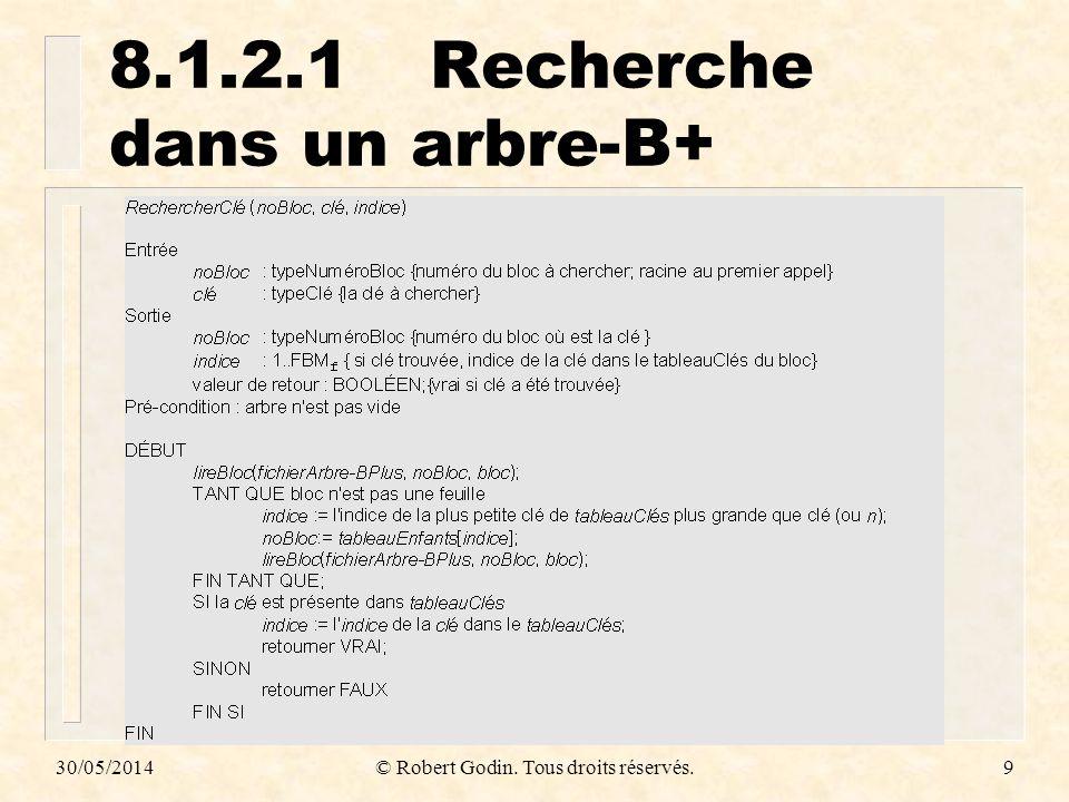 8.1.2.1 Recherche dans un arbre-B+