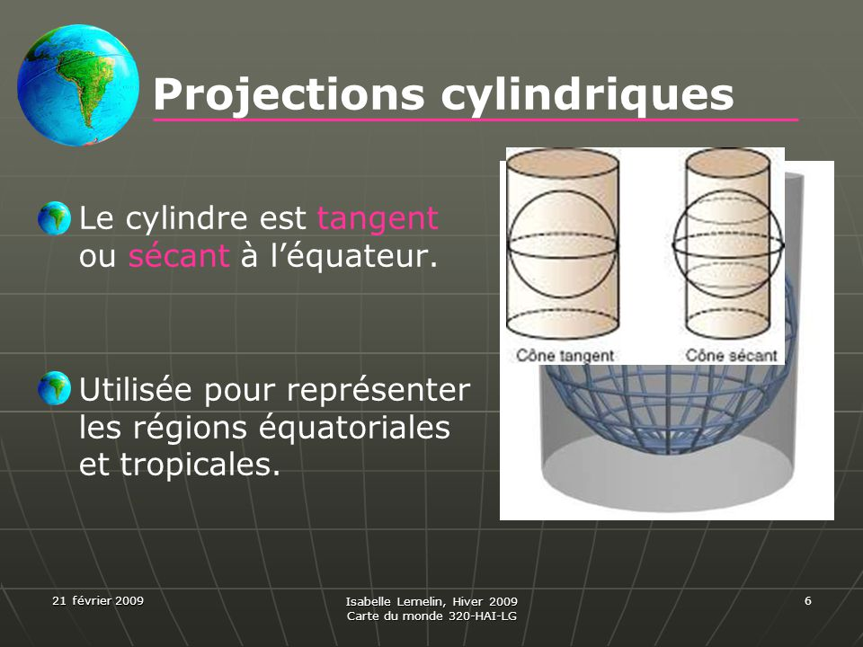 Projections cylindriques