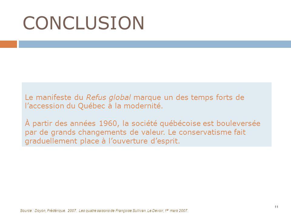 CONCLUSION Le manifeste du Refus global marque un des temps forts de l'accession du Québec à la modernité.