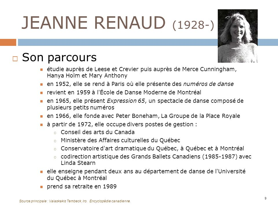 JEANNE RENAUD (1928-) Son parcours