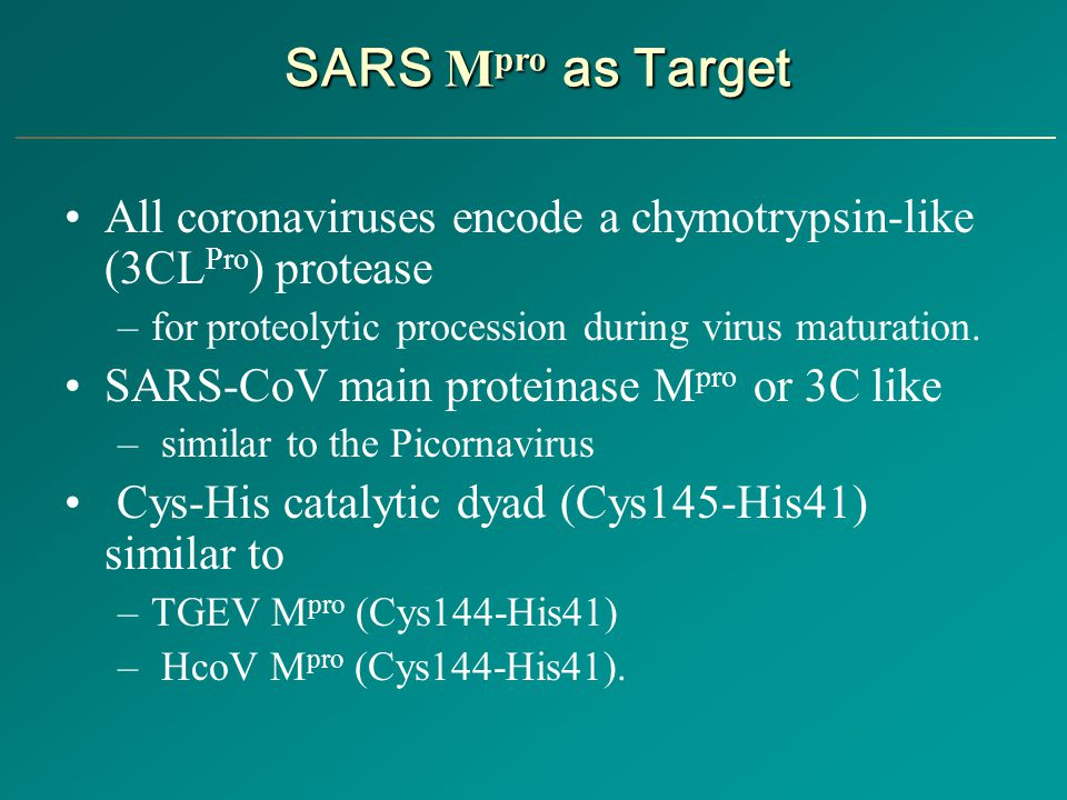 SARS Mpro as Target All coronaviruses encode a chymotrypsin-like (3CLPro) protease. for proteolytic procession during virus maturation.