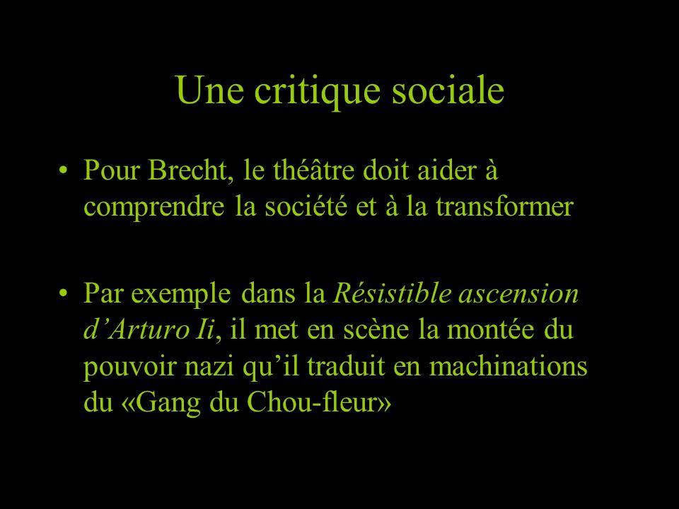 Une critique sociale Pour Brecht, le théâtre doit aider à comprendre la société et à la transformer.