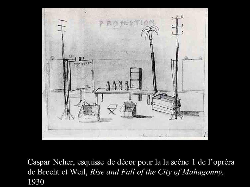 Caspar Neher, esquisse de décor pour la la scène 1 de l'opréra de Brecht et Weil, Rise and Fall of the City of Mahagonny, 1930