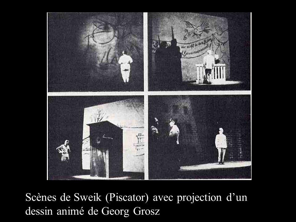 Scènes de Sweik (Piscator) avec projection d'un dessin animé de Georg Grosz
