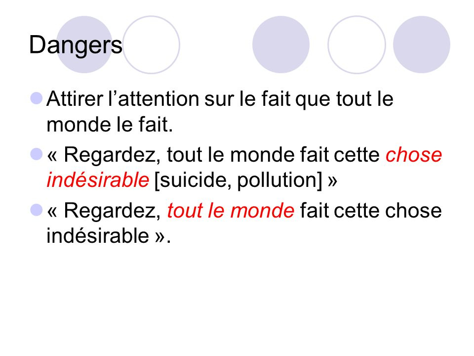 Dangers Attirer l'attention sur le fait que tout le monde le fait.