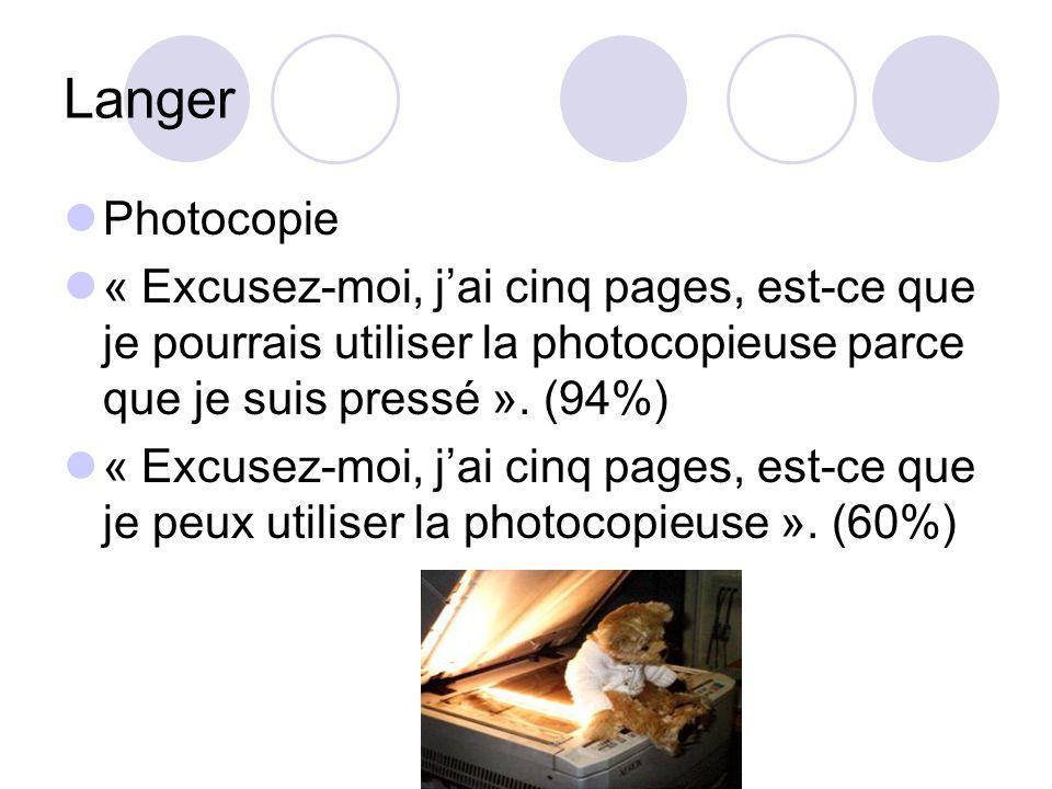 Langer Photocopie. « Excusez-moi, j'ai cinq pages, est-ce que je pourrais utiliser la photocopieuse parce que je suis pressé ». (94%)