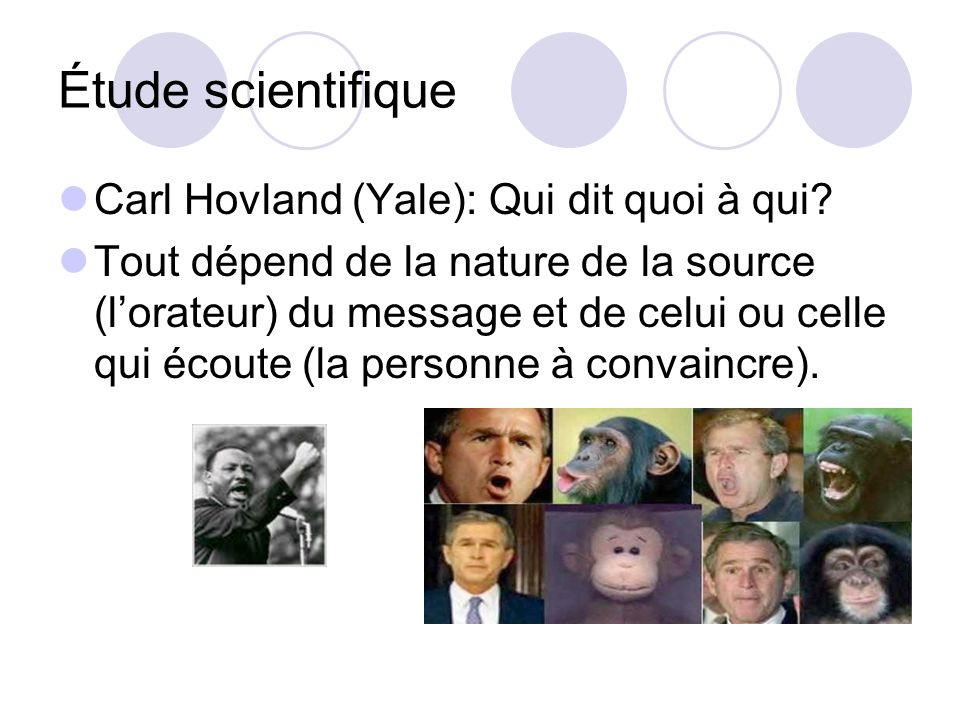 Étude scientifique Carl Hovland (Yale): Qui dit quoi à qui