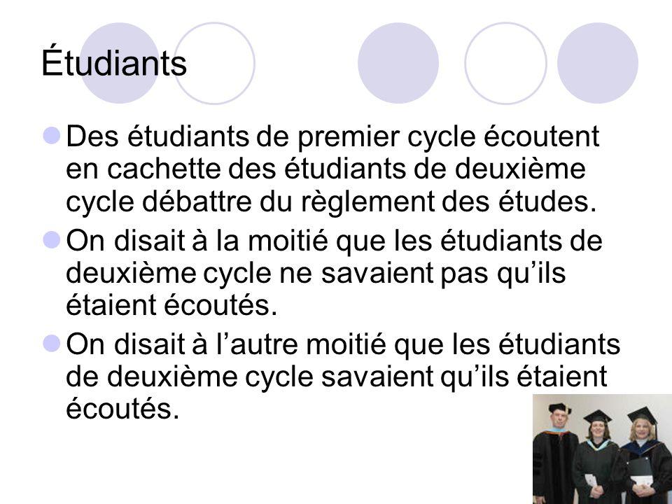 Étudiants Des étudiants de premier cycle écoutent en cachette des étudiants de deuxième cycle débattre du règlement des études.