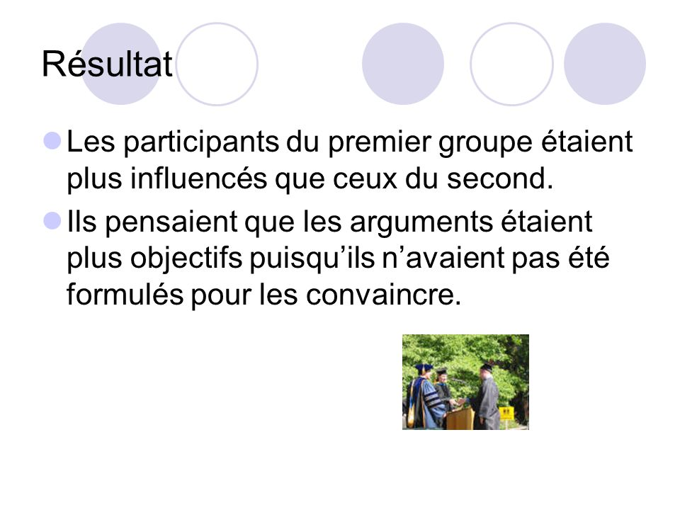 Résultat Les participants du premier groupe étaient plus influencés que ceux du second.