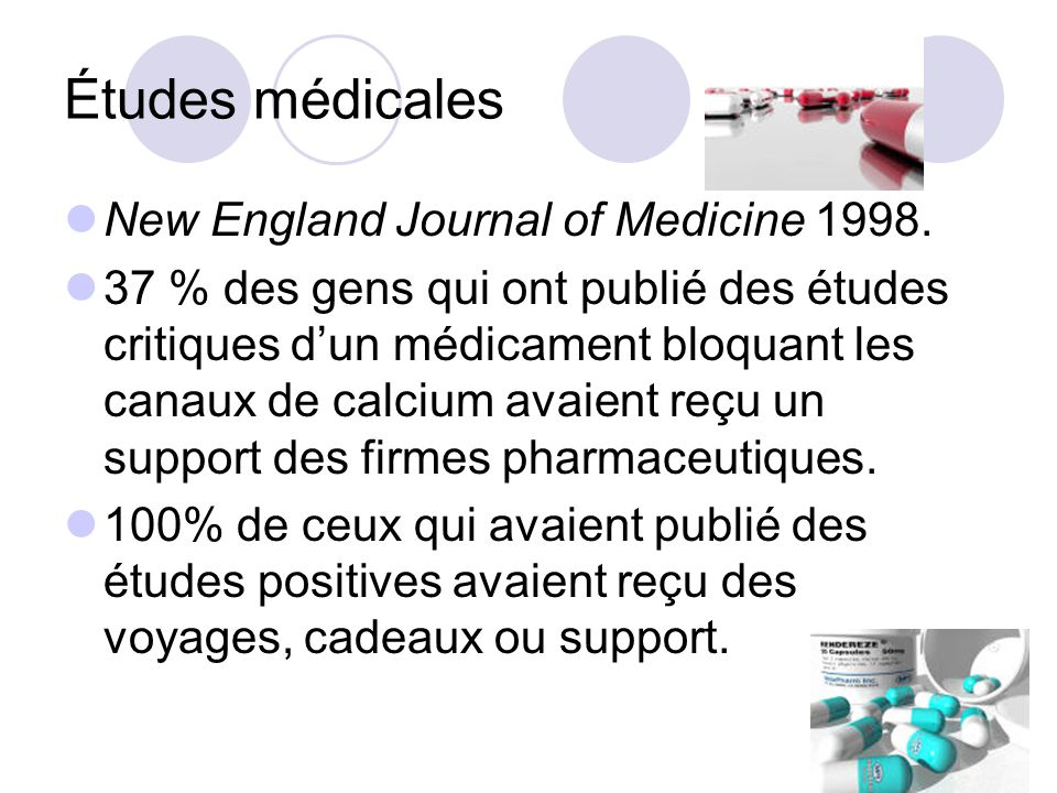 Études médicales New England Journal of Medicine 1998.