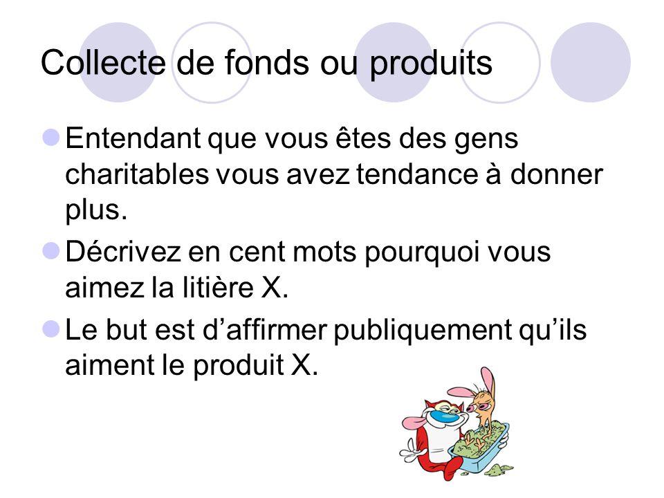Collecte de fonds ou produits