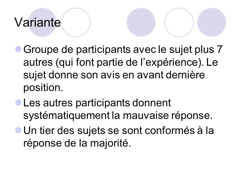 Variante Groupe de participants avec le sujet plus 7 autres (qui font partie de l'expérience). Le sujet donne son avis en avant dernière position.