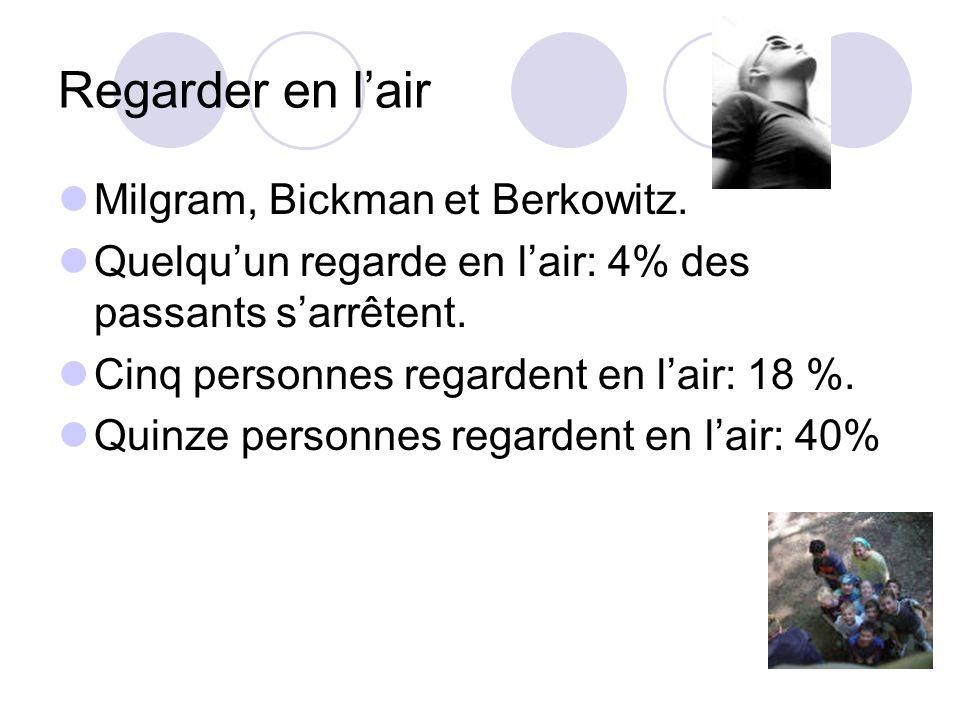 Regarder en l'air Milgram, Bickman et Berkowitz.