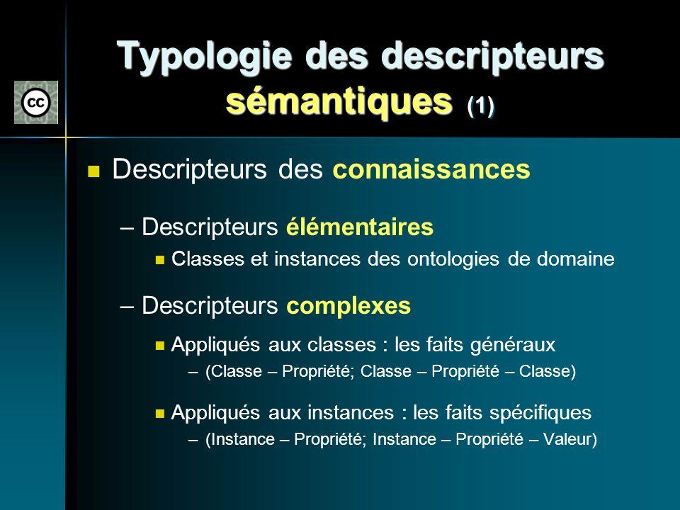 Typologie des descripteurs sémantiques (1)