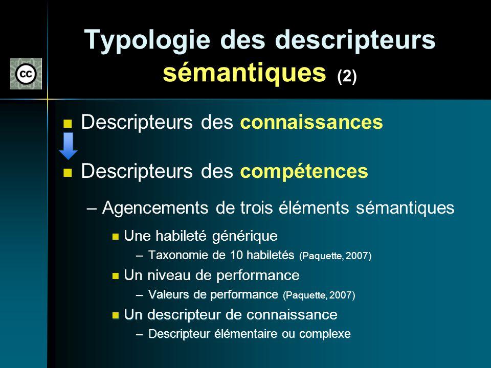 Typologie des descripteurs sémantiques (2)