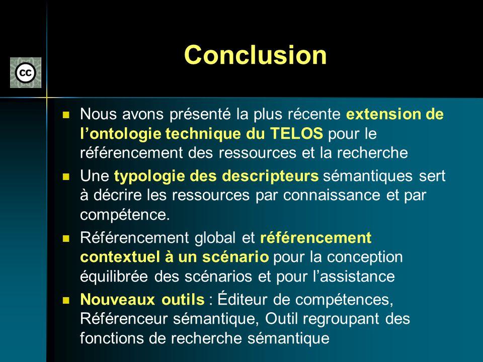 Conclusion Nous avons présenté la plus récente extension de l'ontologie technique du TELOS pour le référencement des ressources et la recherche.