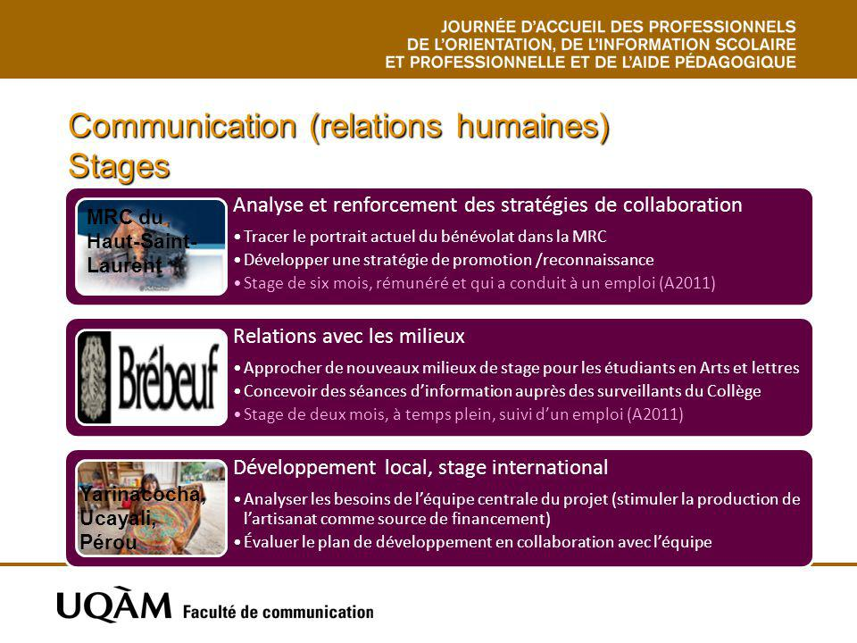 Communication (relations humaines) Stages