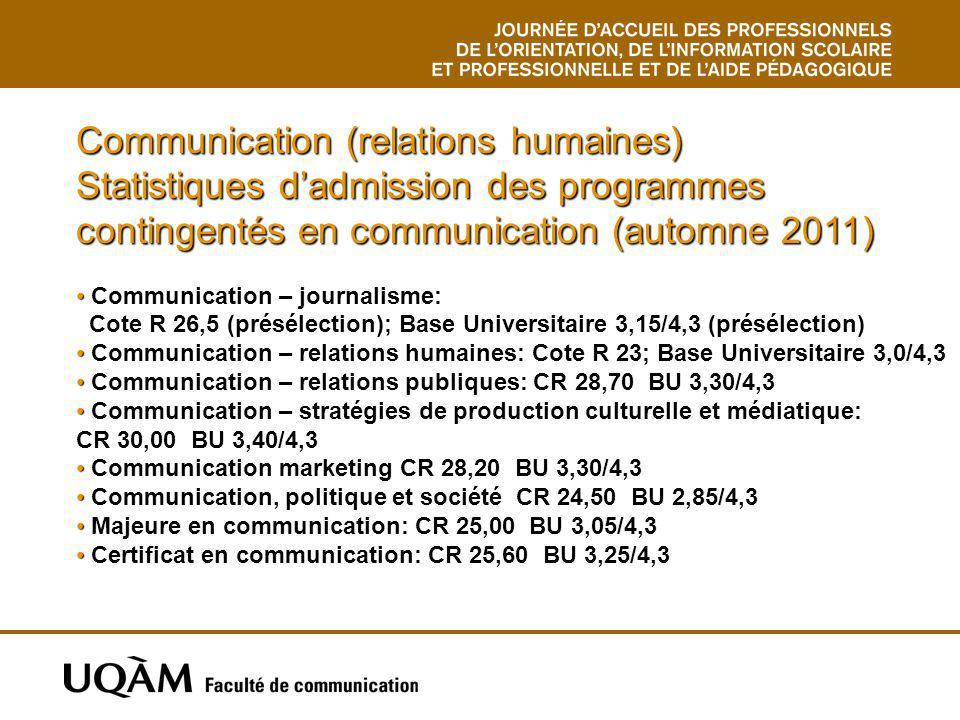 Communication (relations humaines) Statistiques d'admission des programmes contingentés en communication (automne 2011)