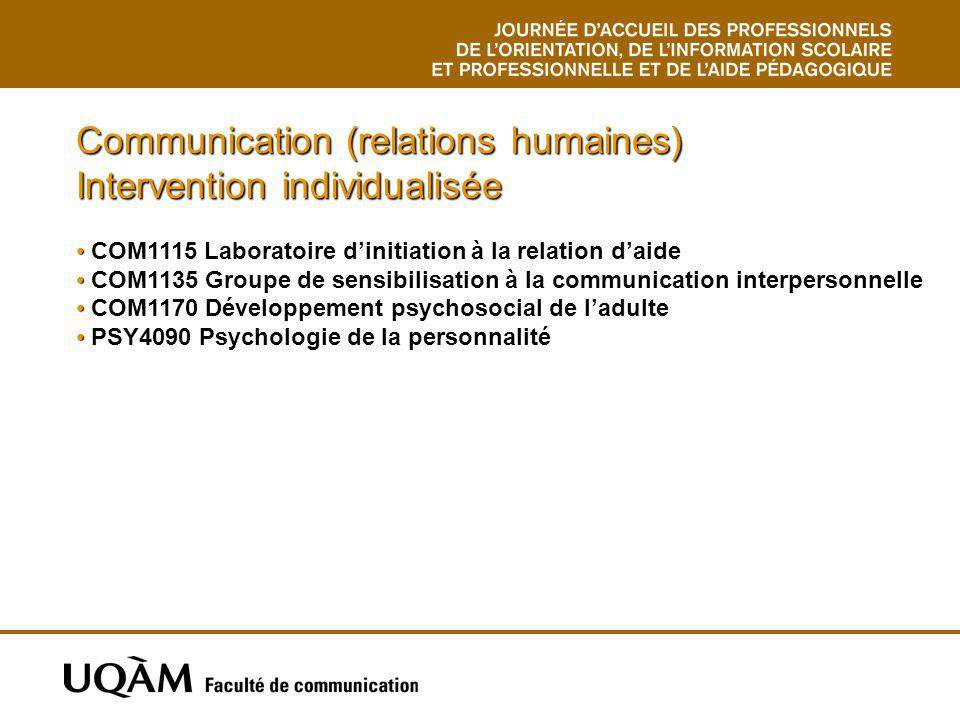 Communication (relations humaines) Intervention individualisée