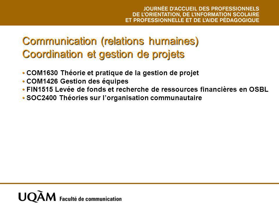 Communication (relations humaines) Coordination et gestion de projets