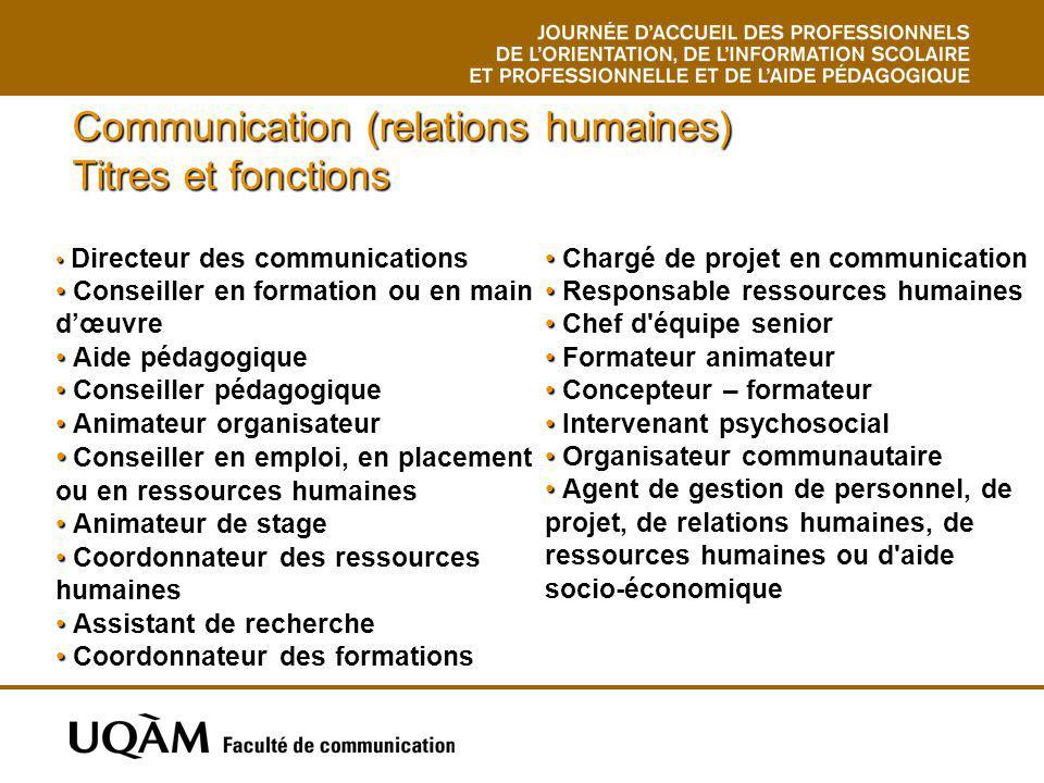 Communication (relations humaines) Titres et fonctions