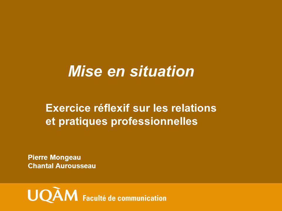 Mise en situation Exercice réflexif sur les relations et pratiques professionnelles. Pierre Mongeau.