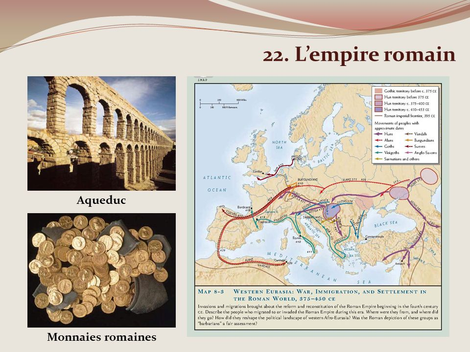 22. L'empire romain Aqueduc Monnaies romaines