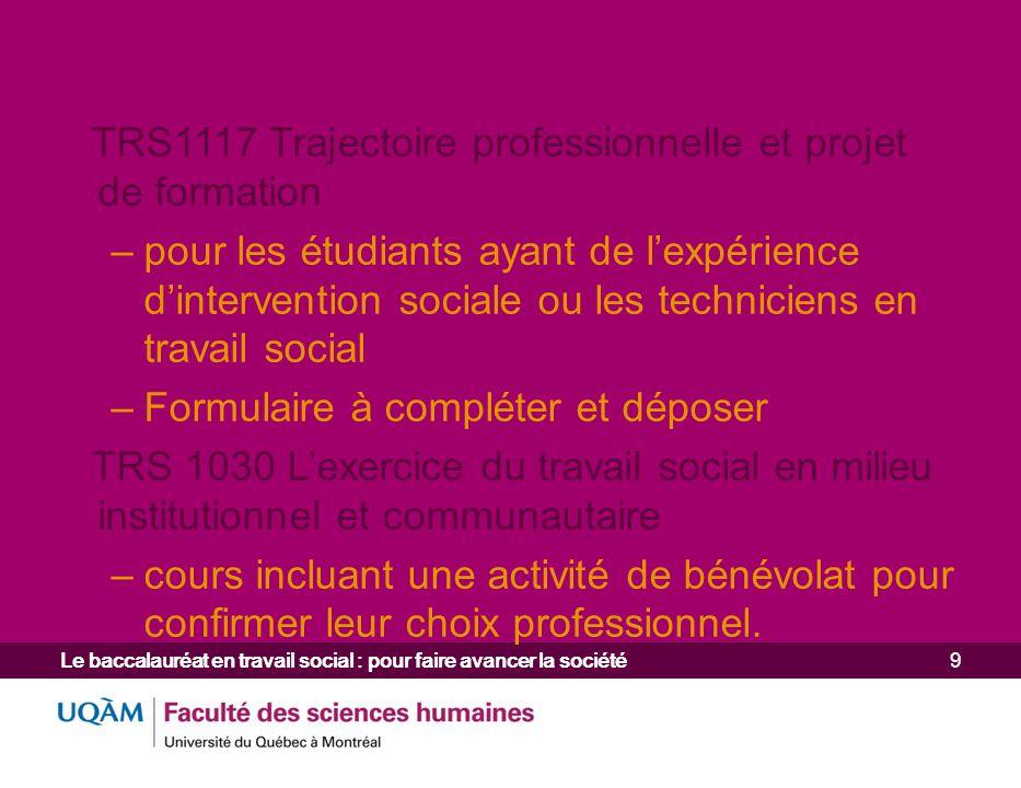 TRS1117 Trajectoire professionnelle et projet de formation