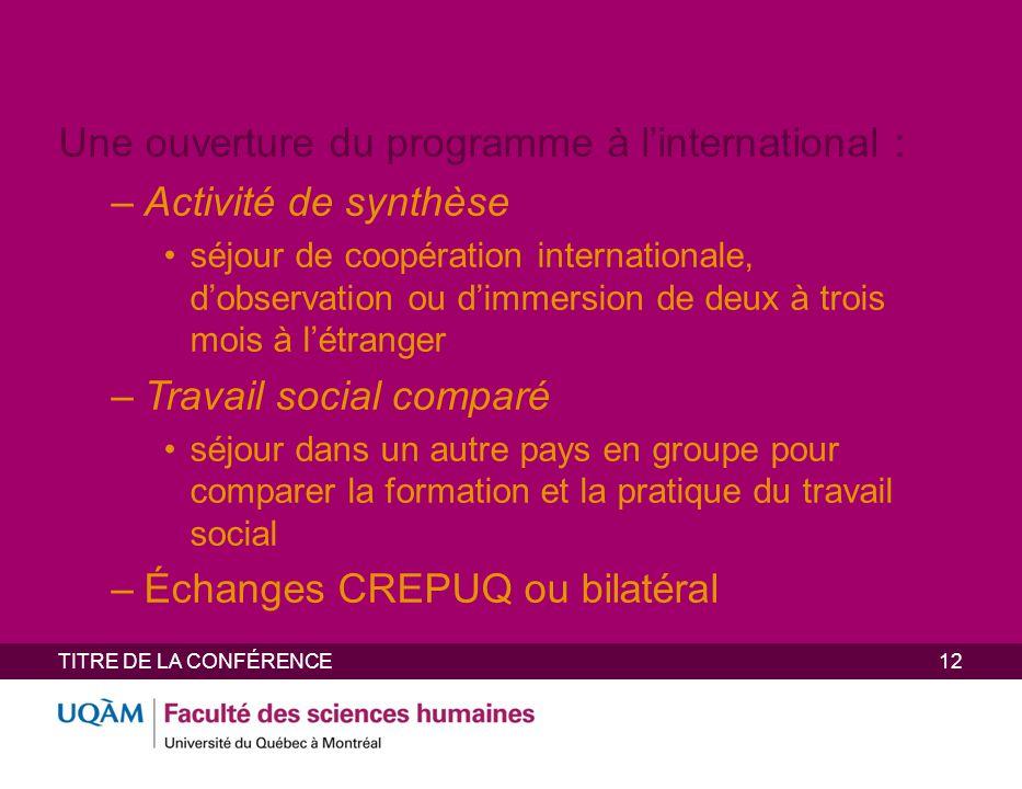 Une ouverture du programme à l'international : Activité de synthèse