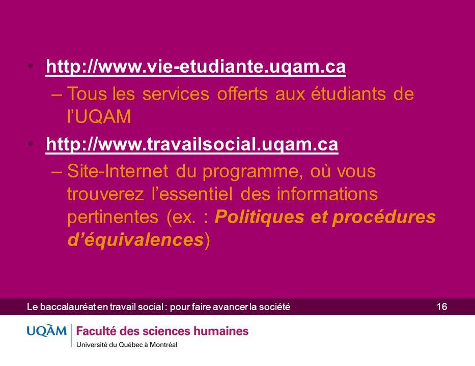Tous les services offerts aux étudiants de l'UQAM