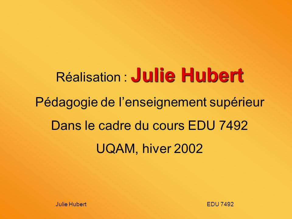 Réalisation : Julie Hubert Pédagogie de l'enseignement supérieur