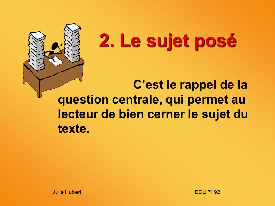 2. Le sujet posé C'est le rappel de la question centrale, qui permet au lecteur de bien cerner le sujet du texte.
