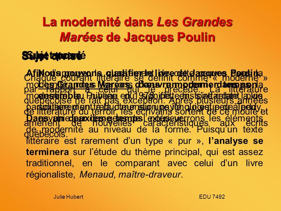 La modernité dans Les Grandes Marées de Jacques Poulin