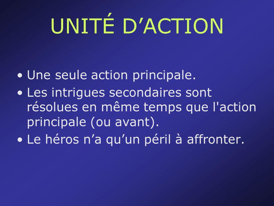 UNITÉ D'ACTION Une seule action principale.