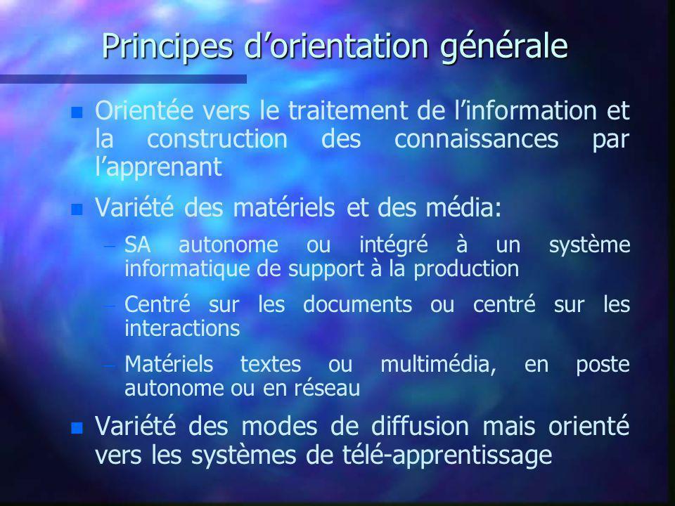 Principes d'orientation générale