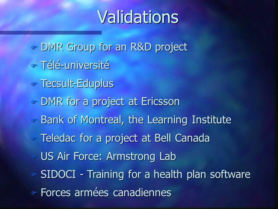 Validations DMR Group for an R&D project Télé-université