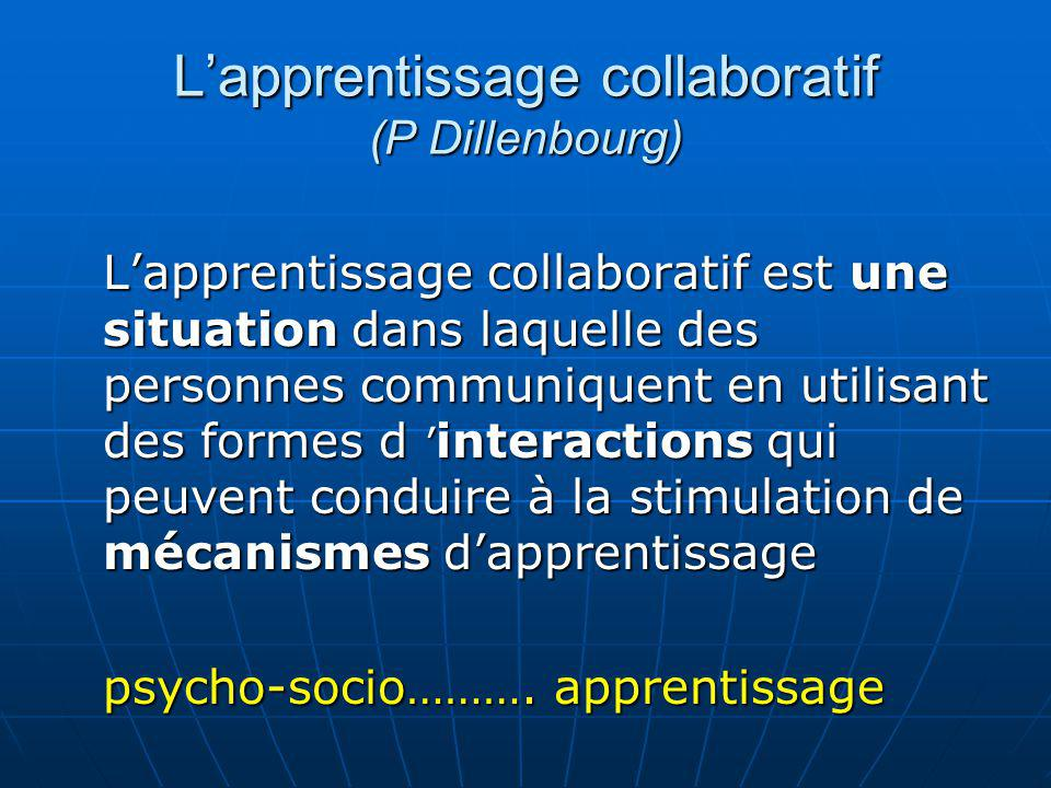 L'apprentissage collaboratif (P Dillenbourg)