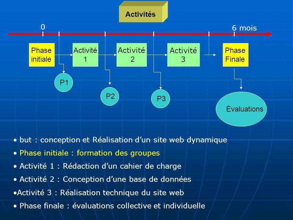 Activités 6 mois. Phase initiale. Activité 1. Etape 1. Activité 2. Activité. 3. Phase. Finale.