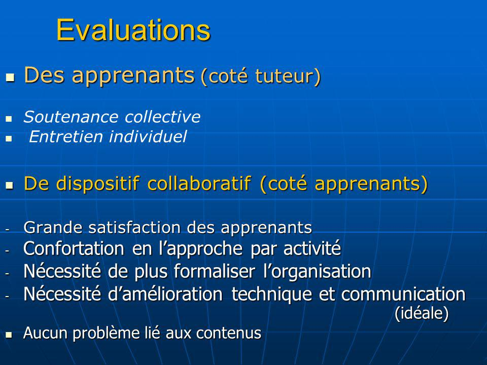 Evaluations Des apprenants (coté tuteur)