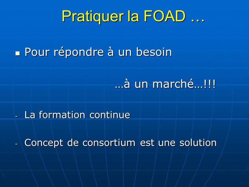 Pratiquer la FOAD … Pour répondre à un besoin …à un marché…!!!
